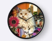 Leo StarCat Wall Clock - Astrology Zodiac Art - July August Birthday Gift for the Cat Lover