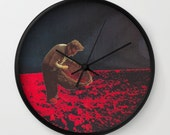 Wall clock - the gleaner - collage art - surreal home decor for the dreamer