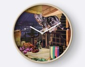 Aquarius StarCat Wall Clock - Astrology Zodiac Art - January February Birthday Gift for the Cat Lover