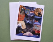 Scorpio StarCat Note Card, Blank 5x7 - Zodiac Astrology Sign, October November Birthday, for the Cat Lover - Greeting Card, Thank You Card