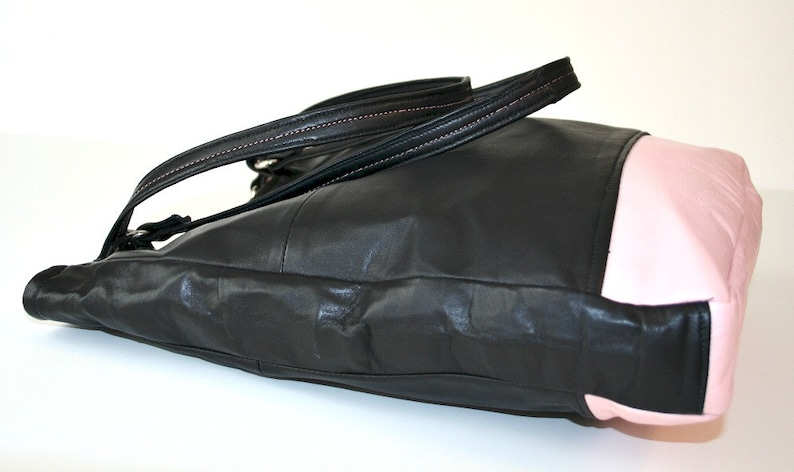 Recycled Black and Pink Leather Color Blocked Tote Handbag