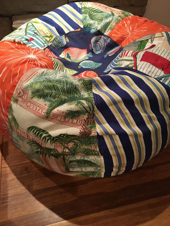 Fantastic New Tropical Palm Beach Stripes And Fish Print Bean Bag Chair With Liner But You Add The Filling Caraccident5 Cool Chair Designs And Ideas Caraccident5Info