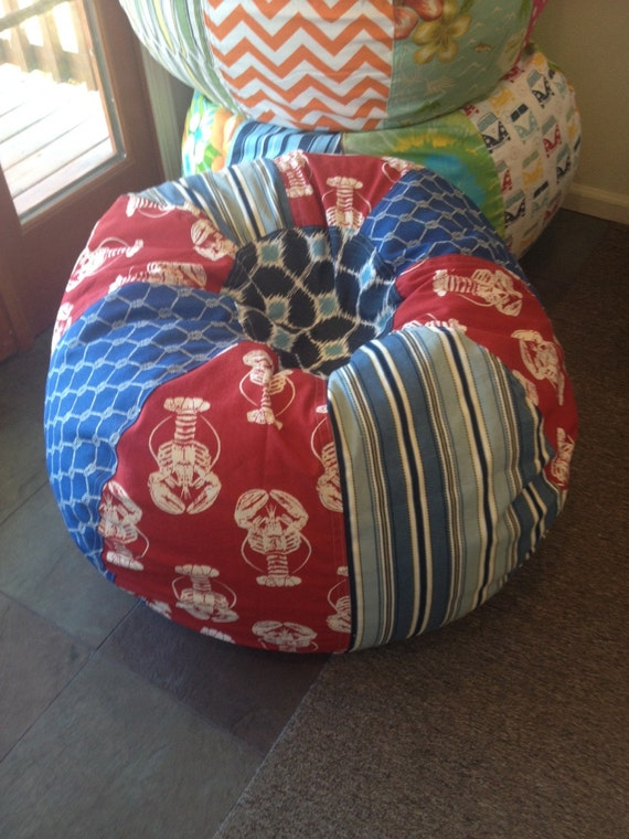 Maine Lobster Nautical Bean Bag Chair With Stripes Rope
