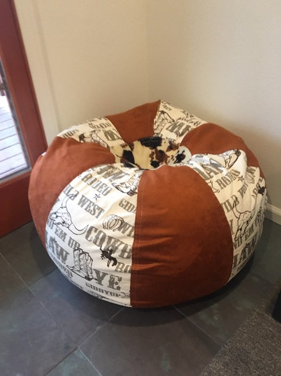 Peachy Western Rodeo And Faux Suede And Cow Print Bean Bag Chair With Both Cover Liner Unfilled Bralicious Painted Fabric Chair Ideas Braliciousco