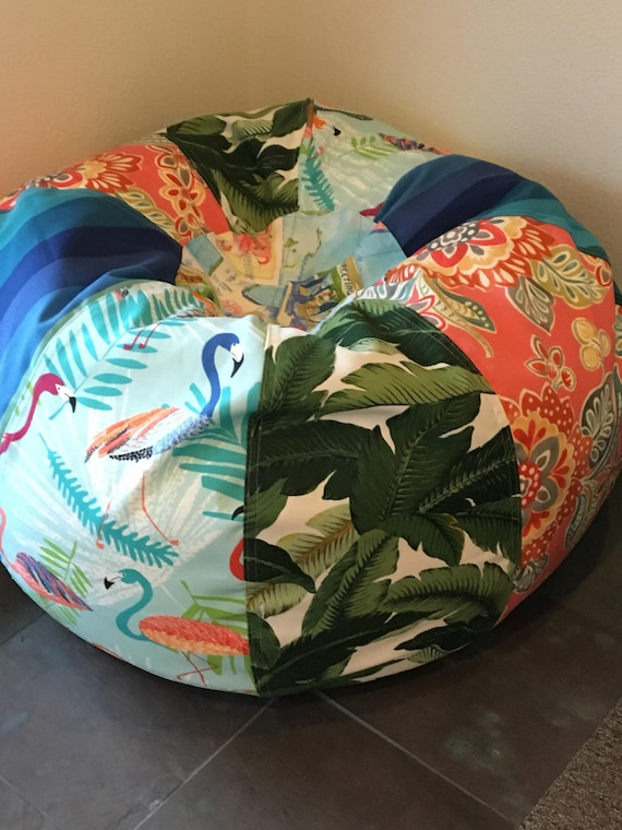 Excellent New Tropical Palm Floral And Flamingos Print Bean Bag Chair With Liner But You Add The Filling Caraccident5 Cool Chair Designs And Ideas Caraccident5Info