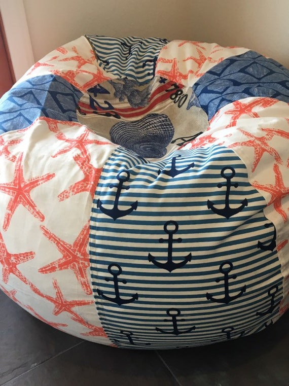 Pleasing New Nautical Stripes Anchors Starfish Seashell Beach Bean Bag Pillow Chair For Beach Decor With Cover And Liner You Fill Alphanode Cool Chair Designs And Ideas Alphanodeonline