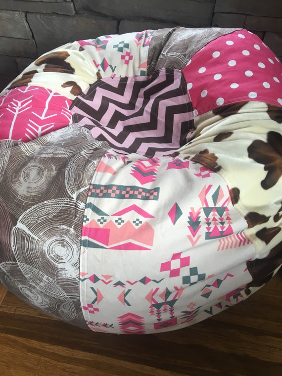 Sensational New Modern Cowgirl Bean Bag Chair With Western Wood And Cow Prints Unfilled With Cover And Liner Bralicious Painted Fabric Chair Ideas Braliciousco