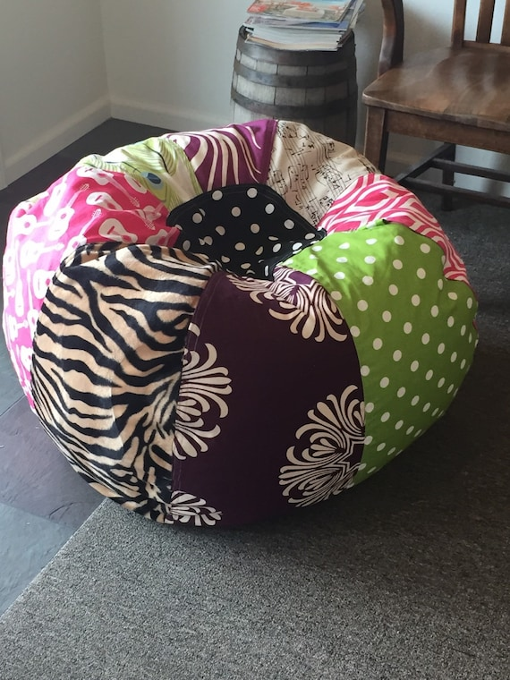 Brilliant Fun And Funky Multi Print Bean Bag Chair With Zebra Music Guitars And Peacock Motifs Unfilled With Cover And Liner Pdpeps Interior Chair Design Pdpepsorg