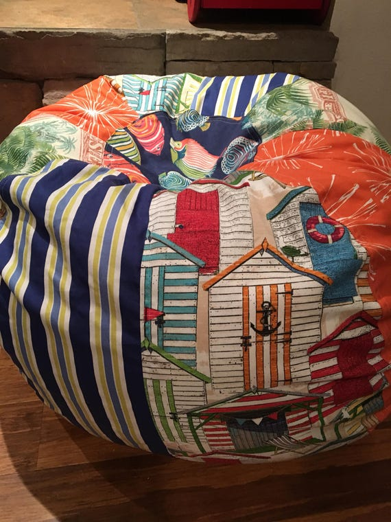 Peachy New Tropical Palm Beach Stripes And Fish Print Bean Bag Chair With Liner But You Add The Filling Caraccident5 Cool Chair Designs And Ideas Caraccident5Info