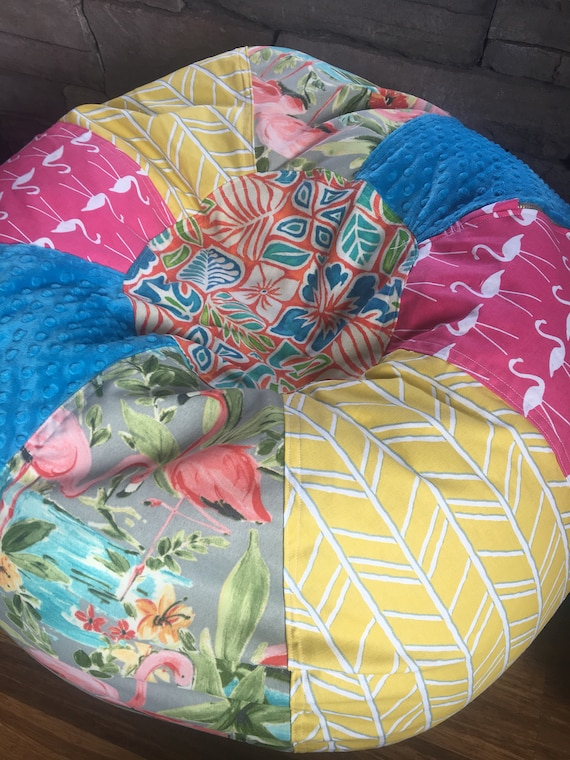Fabulous Bright Flamingos Tropical Beach Bean Bag Chair Unfilled With Cover And Liner Yellow Pink Turquoise Alphanode Cool Chair Designs And Ideas Alphanodeonline