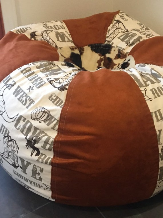 Superb Western Rodeo And Faux Suede And Cow Print Bean Bag Chair With Both Cover Liner Unfilled Bralicious Painted Fabric Chair Ideas Braliciousco