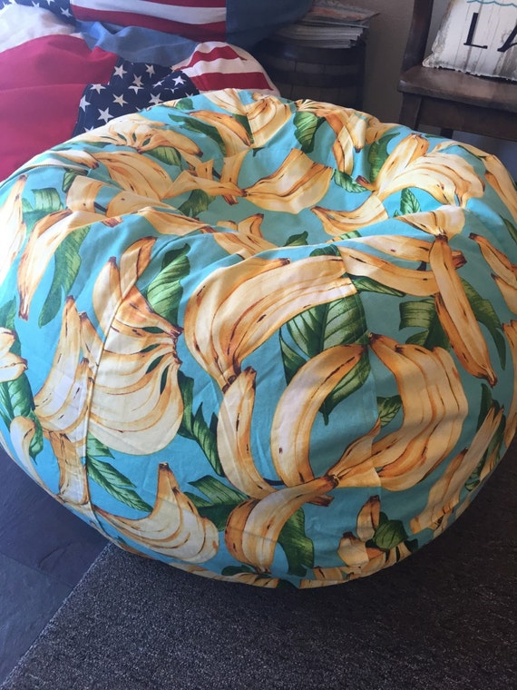 Tremendous Go Bananas Tropical Bean Bag Chair In Blue Yellow Unfilled With Both Cover And Liner Bralicious Painted Fabric Chair Ideas Braliciousco