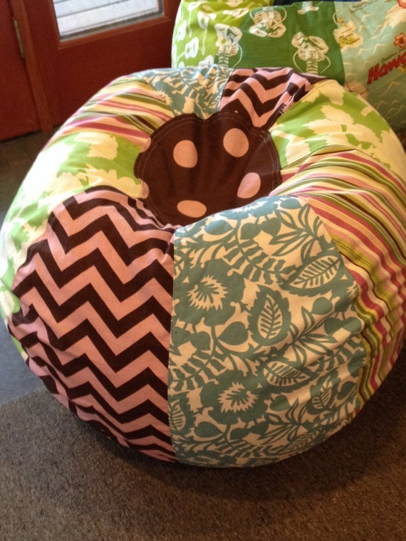 Marvelous Sale Fun Cottage Bean Bag Chair With Green And Blue Florals Chevron Stripes And Polka Dots Unfilled With Cover And Liner Inzonedesignstudio Interior Chair Design Inzonedesignstudiocom