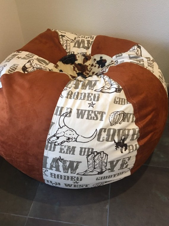 Groovy Western Rodeo And Faux Suede And Cow Print Bean Bag Chair With Both Cover Liner Unfilled Bralicious Painted Fabric Chair Ideas Braliciousco