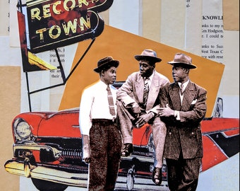 Collage, Three guys and a plymouth, vintage, record, red car, retro, photography, old book paper, orange, rust, black, beige