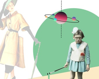 Breaking the Norm, little girl, fashion model, science, math, art, abstract, digitial collage, green, beige, planets