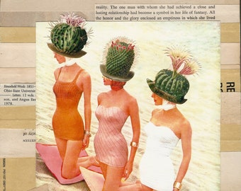 Cactus Hats, swimwear, models, beach, abstract art, flowers, sand, vintage, retro glam, book pages, reds, pinks, white, beige