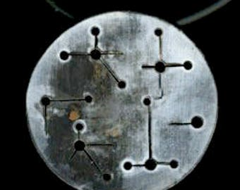 Sterling Silver Constellation scorched round disc moon pendant rubber cord necklace