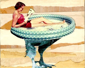 Walking Pool, digital collage, retro, 1950's, vintage magazine, abstract art, woman, summer, sunbathing, bathing suit, backyard, bird legs