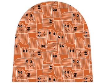 Halloween Baby Beanie, cute, spooky, ghost, orange, black, white, eyes, October, costume, trick-or-treat,