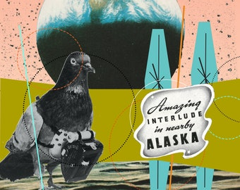 Amazing Alaska, pigeon, bird, moon, abstract art, comic, pink, black, olive green, turquoise, geometric, vintage, photography,
