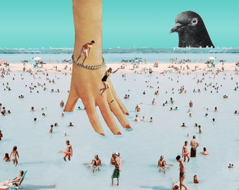 Beach Hand, digital collage, surf, sunbathers, water, pool, diving board, retro, 1950, 1960, absurd, abstract