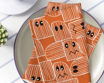 Halloween Napkins, Cute, ghost, eyes, dining room, entertaining, kitchen, party, spooky, autumn, fall, orange, black, white, place setting