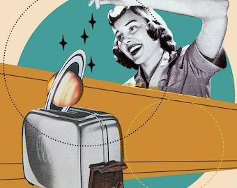 Toasting Saturn, abstract art, comic, woman, toaster, retro, vintage magazine, planet, circles, kitchen, turquoise, green, ivory