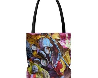 Autumn Leaves tote bag, Fall, outdoors, shopping tote, grocery bag, orange, yellow, brown, photograph, acorns