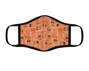 Halloween, Fitted Polyester Face Mask, ghost, cute, spooky, orange, black, white, eyes, black trim