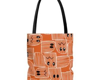 Halloween tote bag, Trick-or-Treat, shopping tote, grocery bag, orange, ghost, eyes, black, white, spooky, cute