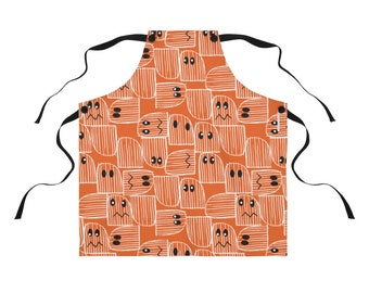 Halloween Apron with Eyes, cute, spooky, ghost, pumpkin, kitchen, orange, black, white, lines, abstract, mid-century, party, cooking, chef,