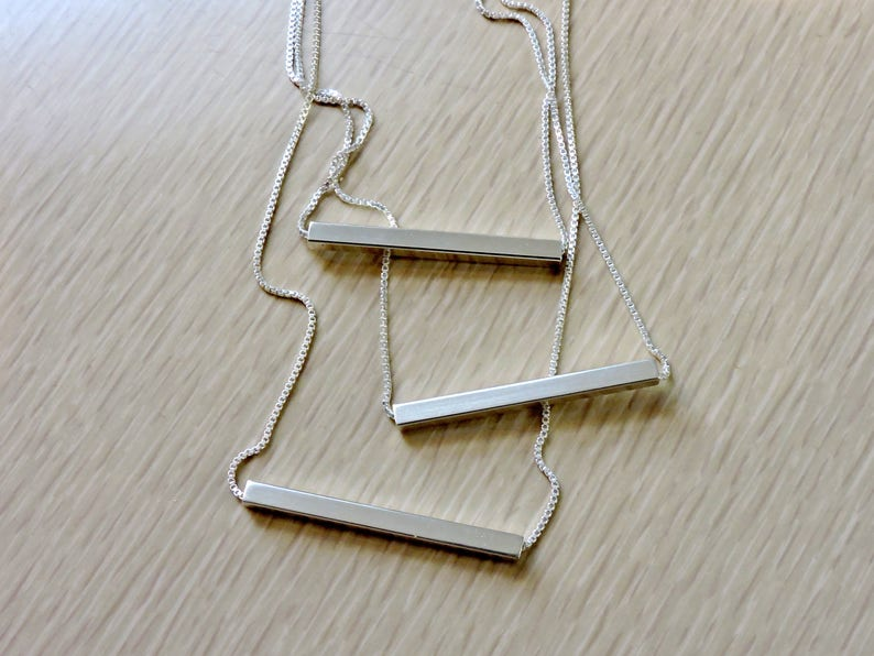 Sterling silver minimalist horizontal square tube bar necklace image 0