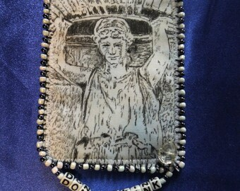 Tiny Art Quilt ATC Doctor Who Inspired Weeping Angel with Letter Beads DON'T BLINK
