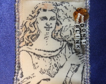 Tiny Art Quilt ATC Doctor Who Inspired Pretty Weeping Angel with Letter Beads read DON'T BLINK