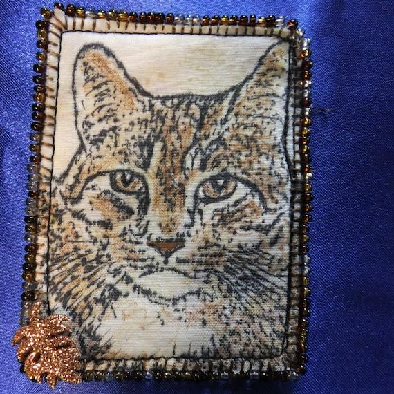 Tiny Art Quilt Atc Brown Tabby Cat Portrait Etsy