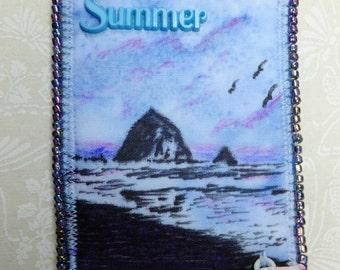 Tiny Art Quilt ATC Seasonal Art Quilt Summer on the Beach Haystack Rock