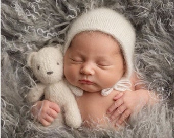 Hand knit small fluffy cream teddy bear  027e7a06f6e7