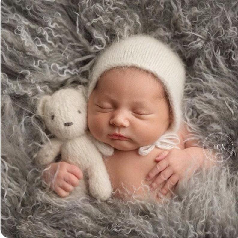 Hand knit small fluffy teddy bear  newborn photography prop image 0