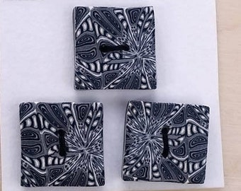 Three square handmade polymer clay sewing buttons, unique set of 3, black and white.