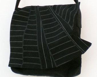 Stripy Patchwork Shoulder Bag with flap. Handmade, full zipper closure, black.
