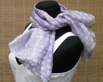 Batik Spot Scarf, hand dyed silk square scarf. Dotted, lavender.
