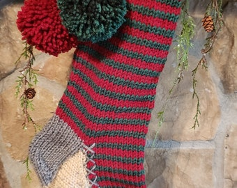 Hand Knit Christmas Stocking Rag Series Black Lime Green Red Peace Sign Detail by Santa/'s Stocking Works
