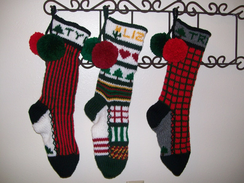 Special Order Set of THREE PERSONALIZED Hand Knit Christmas Stockings of your choice by Santa/'s Stocking Works