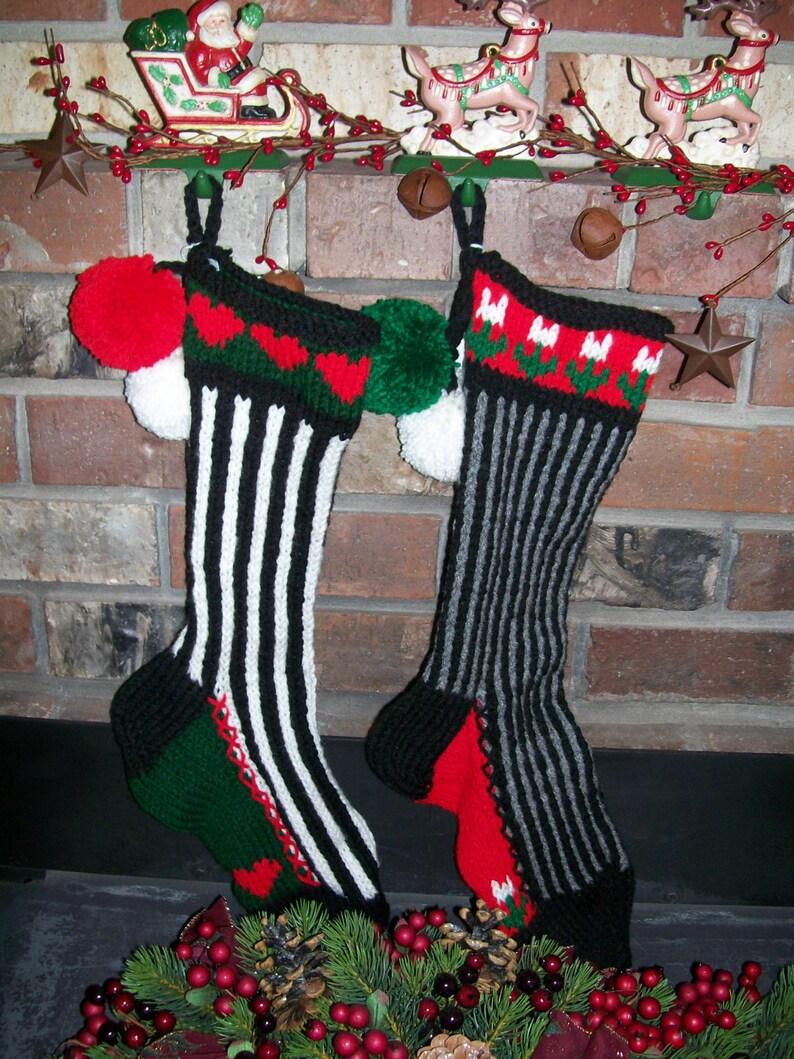 Hand Knit Christmas Stocking Black Gray Vertical Stripe White Flowers by Santa/'s Stocking Works