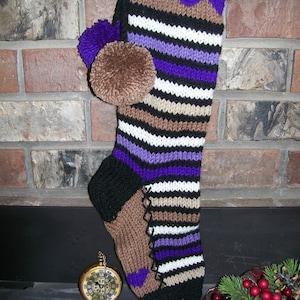 Hand Knit Christmas Stocking Purple Brown Horizontal Stripes Fancy Border Detail by Santa/'s Stocking Works