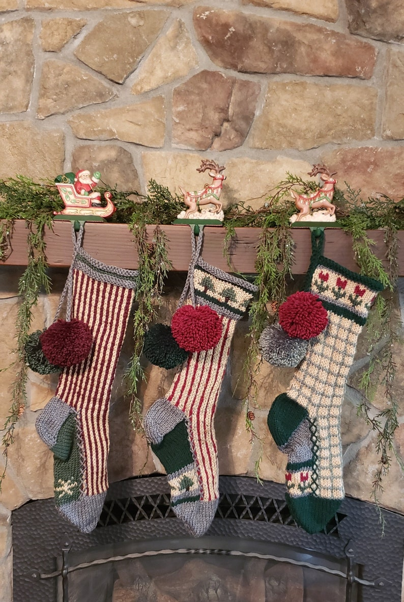 Hand Knit Christmas Stocking Gray Tan Green Windowpane Check Red Flowers Borders by Santa/'s Stocking Works