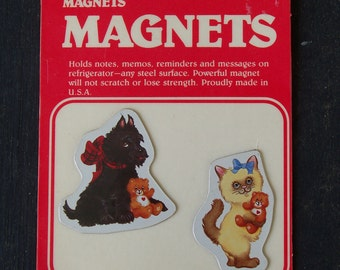 Oh so sweet Dog and Cat vintage magnets