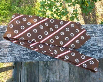 Brown Striped Vintage Necktie