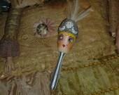 Vintage Style Flapper Showgirl Hand Painted Wood Sock Darner Blonde Sliver White